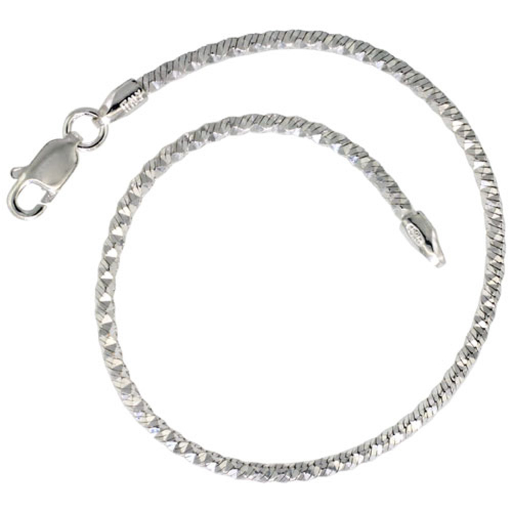 Sterling Silver Snake Chain Necklaces & Bracelets 2mm Pyramid Diamond cut Nickel Free Italy, 7-30 inch