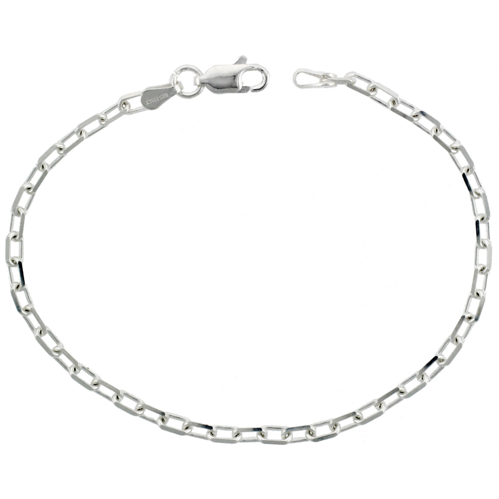 Sterling Silver Boston Link Chain Necklaces & Bracelets Nickel Free Italy Beveled 1/8 inch, 7-30 inch