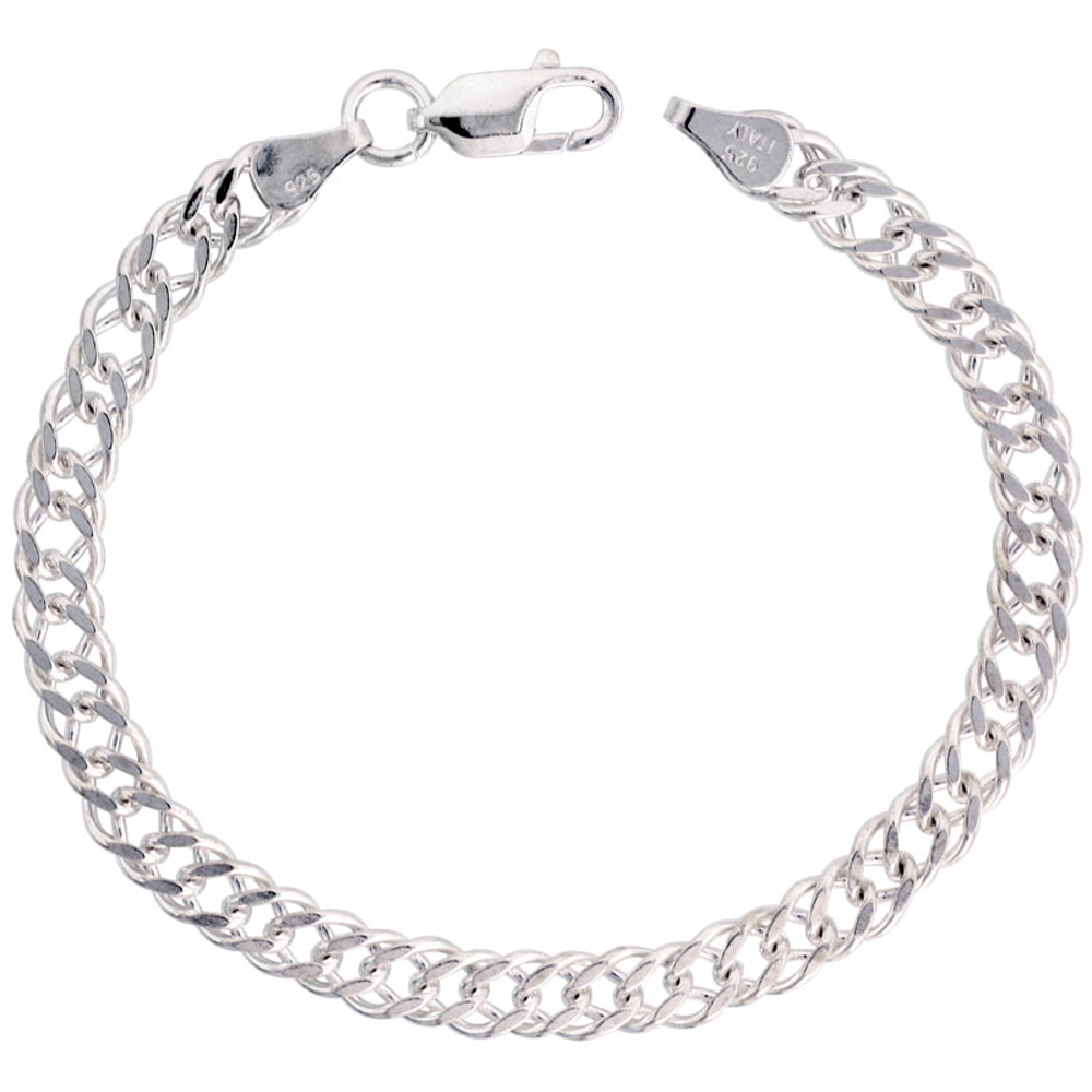 Sterling Silver Rombo Double Link Chain Necklaces & Bracelets 5.6mm Nickel Free Italy, sizes 7 - 30 inch