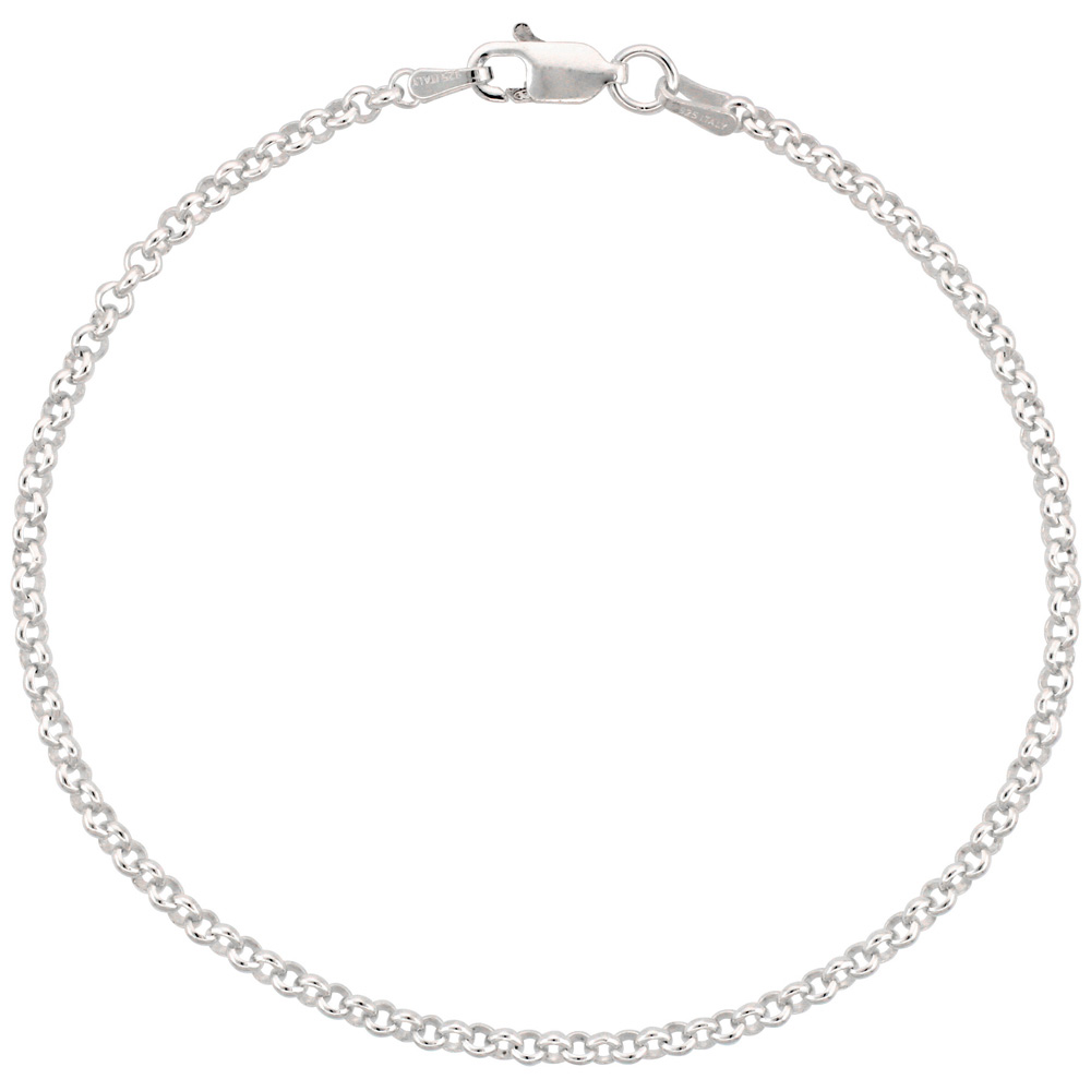 Sterling Silver Italian Rolo Chain Necklace 2.5mm Nickel Free, sizes 7 - 30 inch