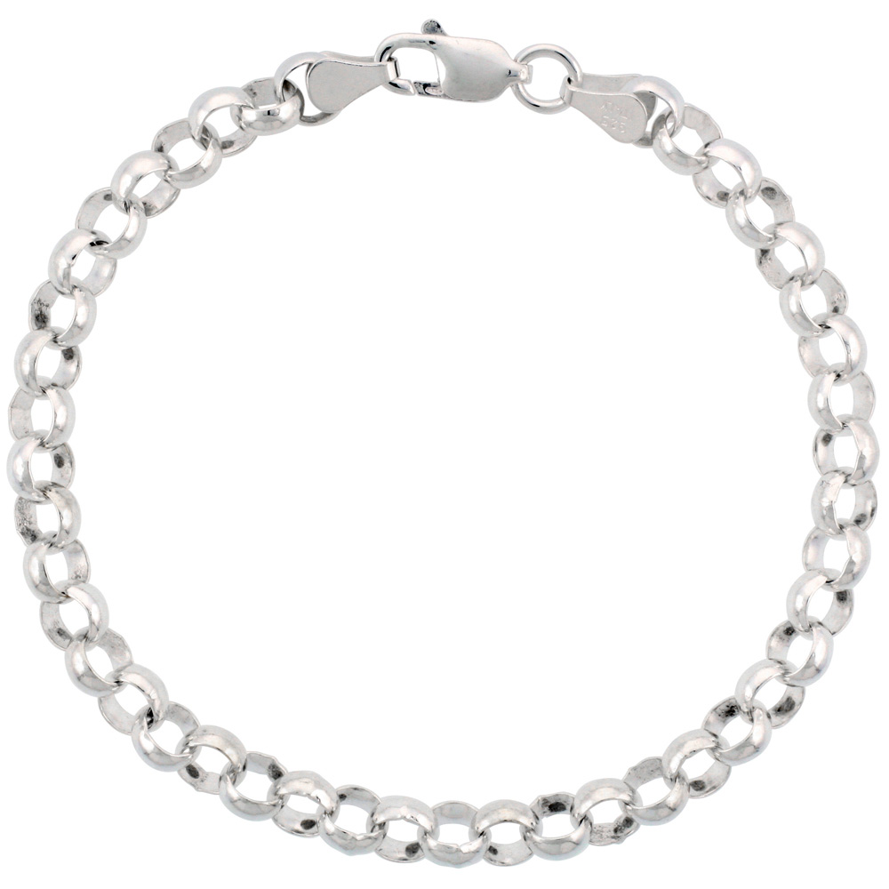 Sterling Silver Italian Rolo Chain Necklace 6mm Thick Nickel Free, sizes 7 - 30 inch