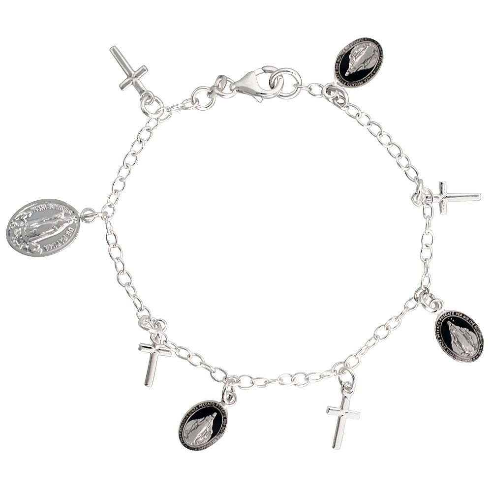 Sterling Silver Miraculous Medal Bracelet with Crosses Black Enamel 7 inch