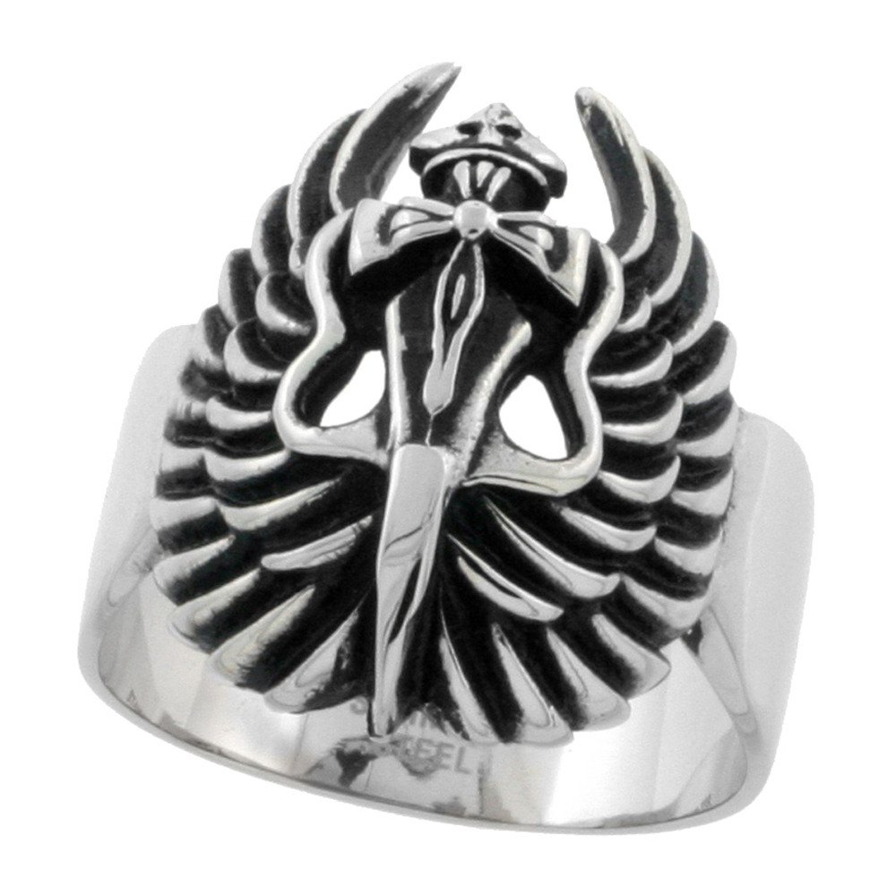 Stainless Steel Dagger Cross & Wings Ring Biker Rings for men 1 1/16 inch, sizes 9 - 15
