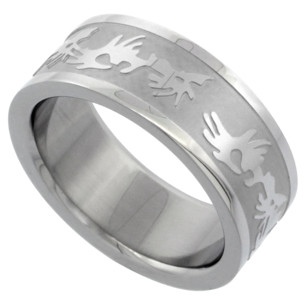 Surgical Stainless Steel 8mm Tribal Design Ring Wedding Band, sizes 7 - 14