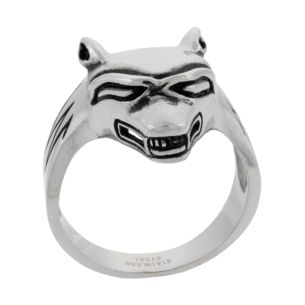 Stainless Steel Wolf Ring Biker Rings for men 1 inch, sizes 9 - 15