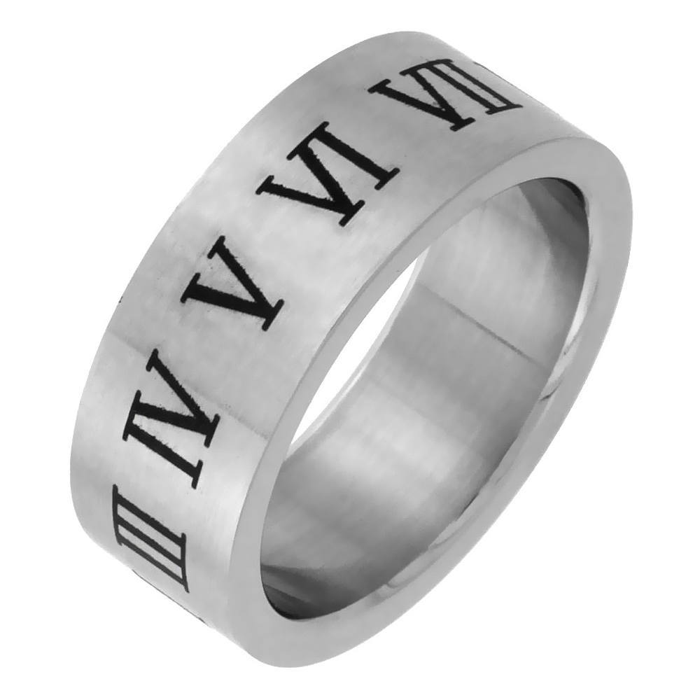 Surgical Stainless Steel 8mm Roman Numerals Ring Wedding Band Matt Finish, sizes 7 - 14