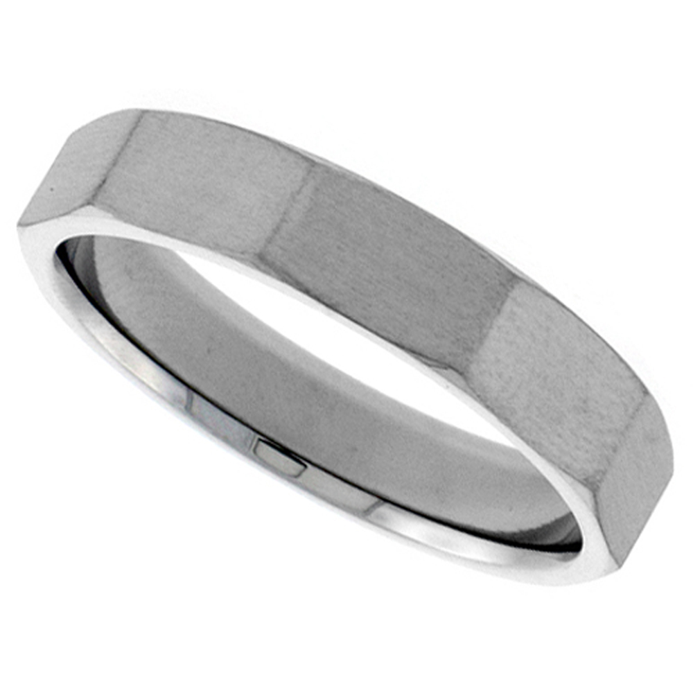 Stainless Steel 5mm Faceted Wedding Band Thumb Ring Beveled Edges Matte Finish Comfort-Fit, sizes 6-10.5