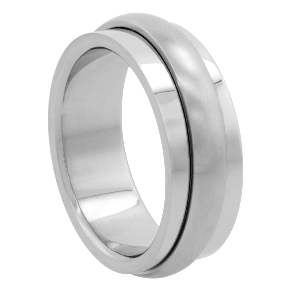 Surgical Stainless Steel 8mm Spinner Wedding Band Ring Domed Matte Center, sizes 7 - 14