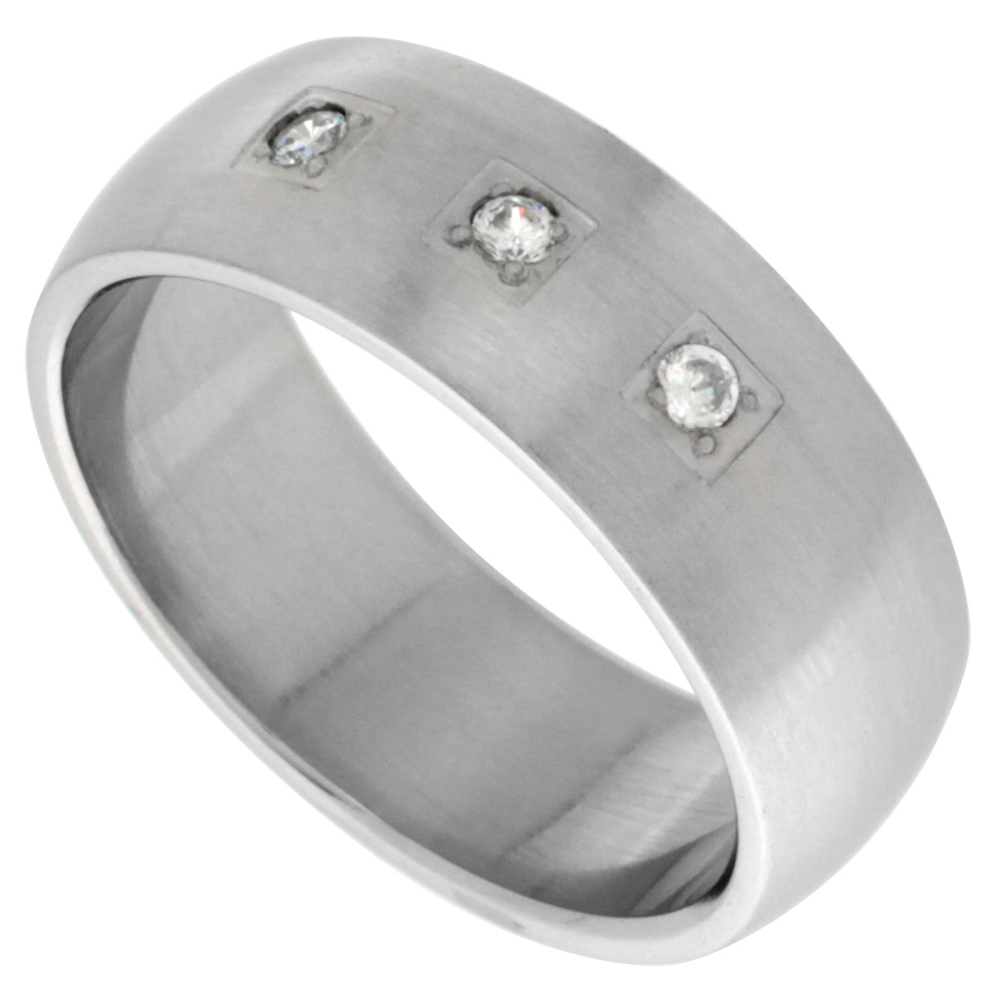 Surgical Stainless Steel 8mm Cubic Zirconia Wedding Band Ring 3-stones Domed Matte Finish, sizes 8 - 14
