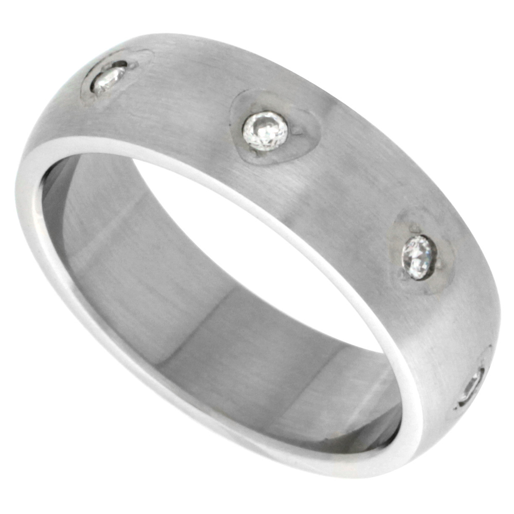 Surgical Stainless Steel 8mm Cubic Zirconia Wedding Band Ring Domed Matte Finish, sizes 6 - 10