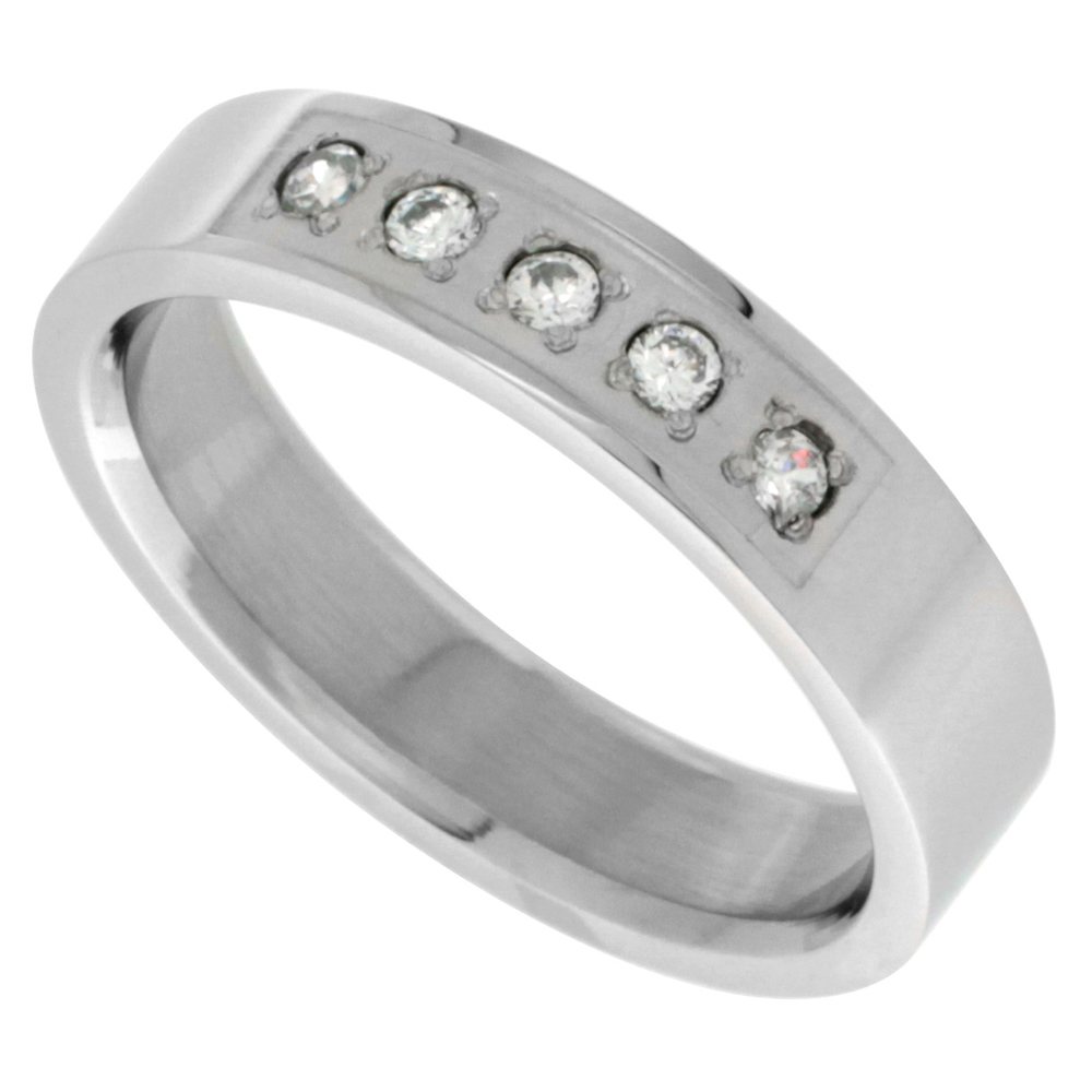 Surgical Stainless Steel 5mm Cubic Zirconia Wedding Band Ring 5-stone Polished Finish, sizes 8 - 14