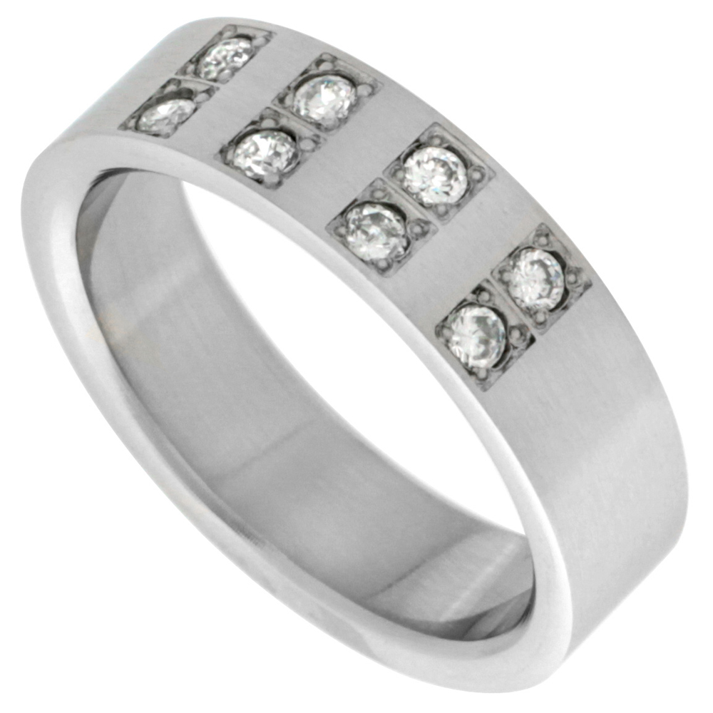 Surgical Stainless Steel 6mm Cubic Zirconia Wedding Band Ring 8-Stones, sizes 8 - 14