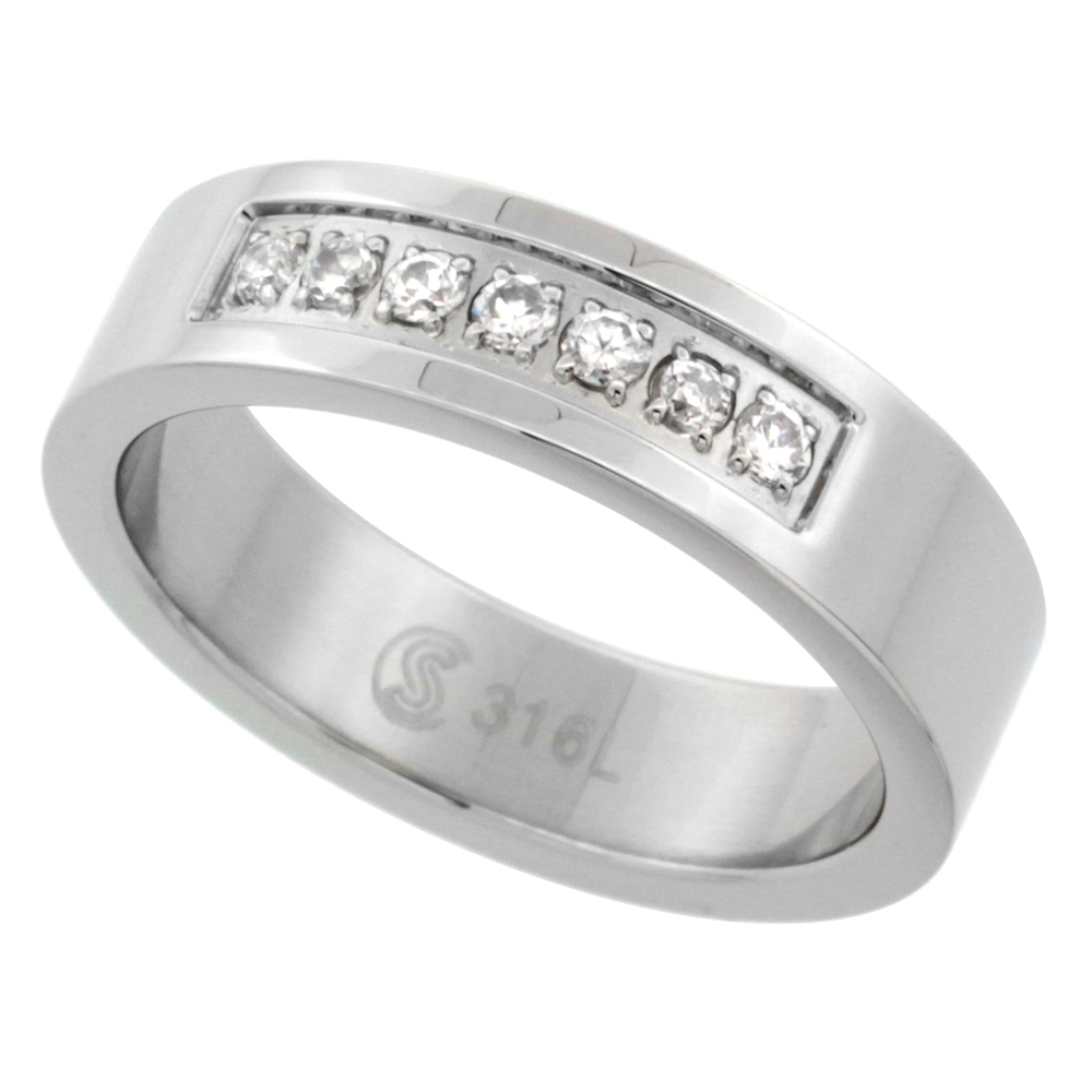Surgical Stainless Steel 6mm Cubic Zirconia Wedding Band Ring 7-Stones, sizes 8 - 14