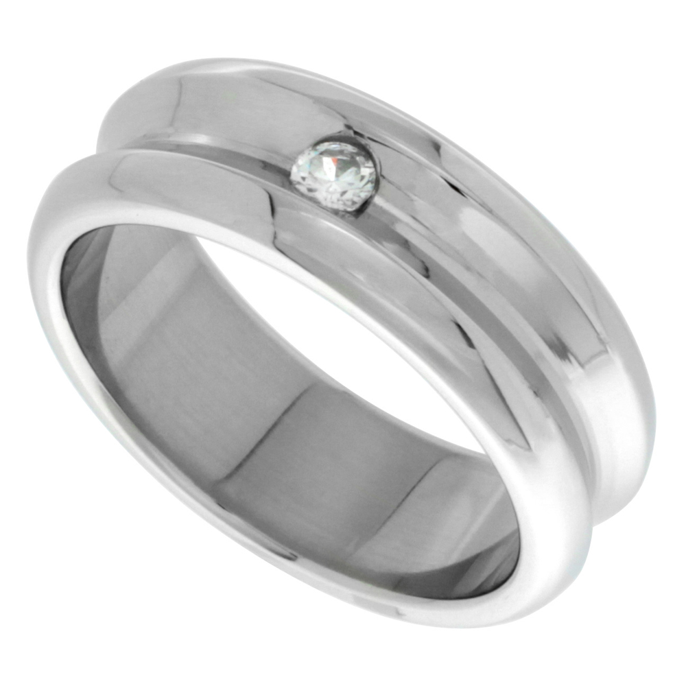 Surgical Stainless Steel 8mm CZ Wedding Band Ring Concaved Polished Finish Beveled Edges, sizes 8 - 14