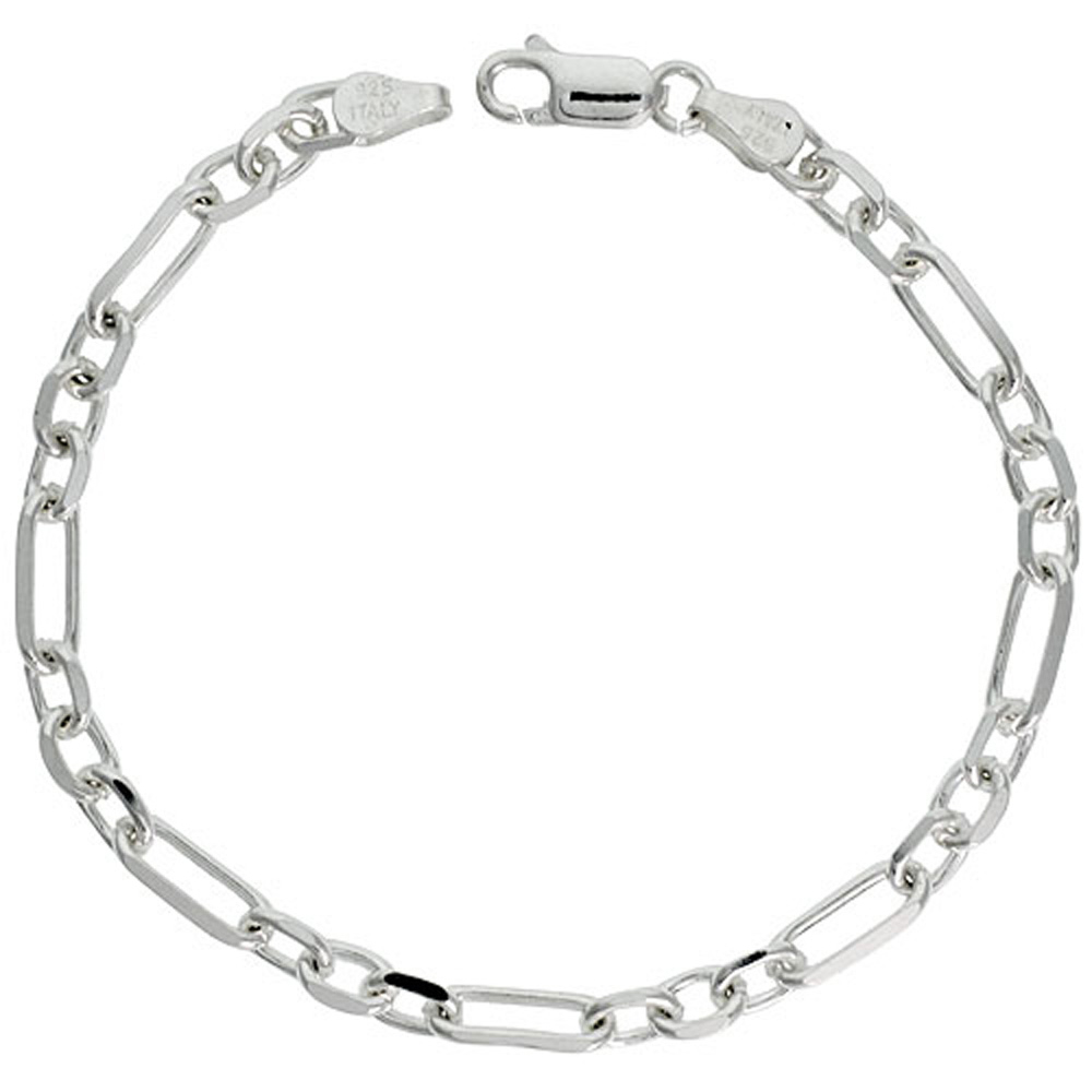 Sterling Silver Figaro Cable Link Chain Necklaces & Bracelets 5mm Beveled Nickel Free Italy, 7-30 inch