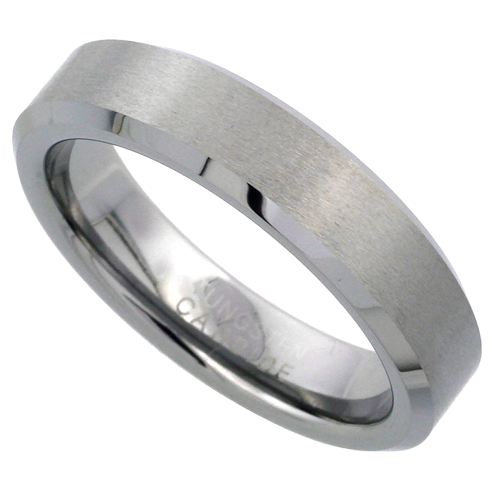 Tungsten Carbide 5 mm Flat Wedding Band Ring Satin Finished Beveled Edges, sizes 6 to 10