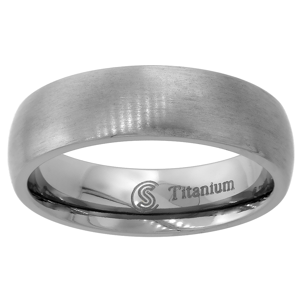 6mm Titanium Wedding Band Thumb Ring Brushed Finish Domed Comfort Fit, sizes 7 - 14