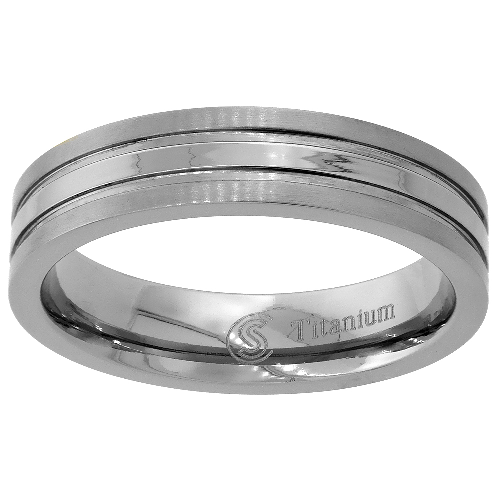 Titanium 5mm Wedding Band Ring Stripe Center Flat Comfort Fit, sizes 7 - 14