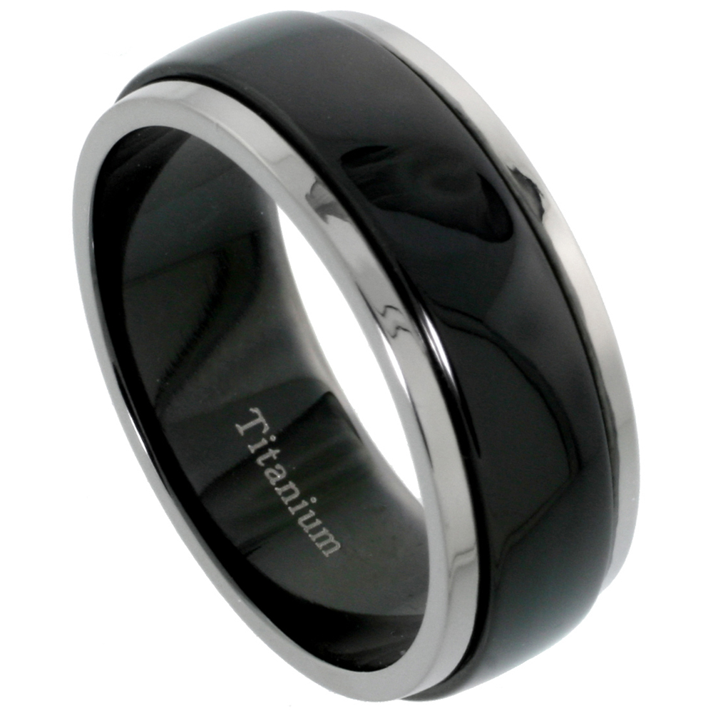 8mm Black Titanium Wedding Band Spinner Ring Two Tone Finish, sizes 7 - 14.5