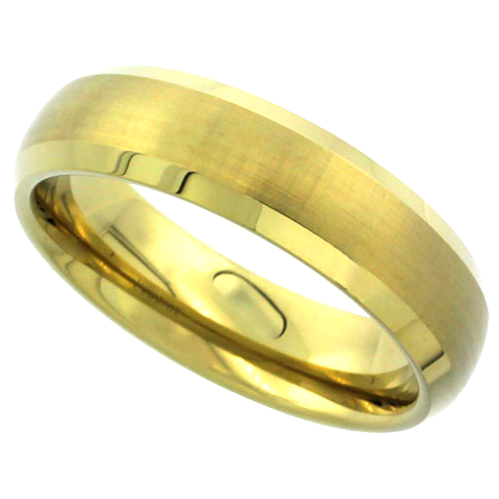 6mm Gold Tungsten Wedding Band Dome Brushed Finish Beveled Edge Comfort fit, sizes 5 to 9.5
