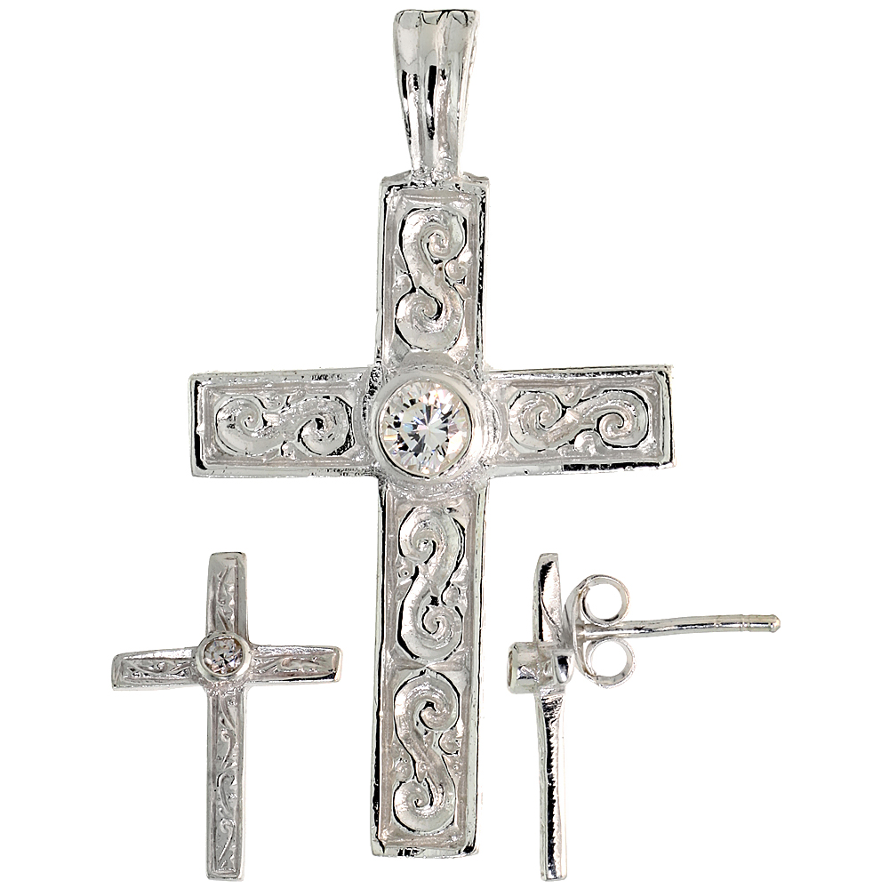Sterling Silver Swirl-designed Latin Cross Earrings (16mm tall) & Pendant (28mm tall) Set, w/ Bezel Set Brilliant Cut CZ Stones