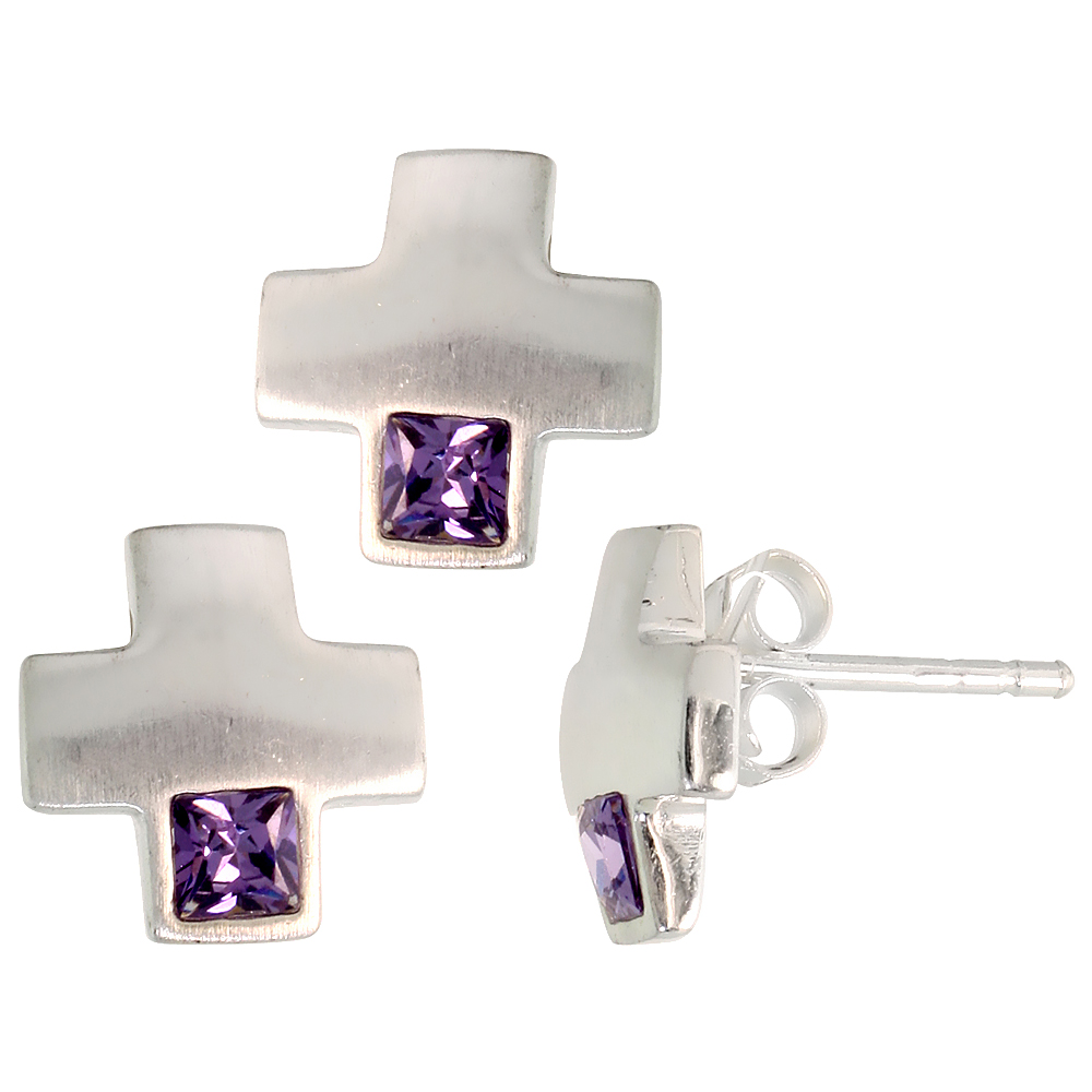 Sterling Silver Princess Cut Amethyst Purple CZ Greek Cross Stud Earrings & Pendant Set Brushed finish
