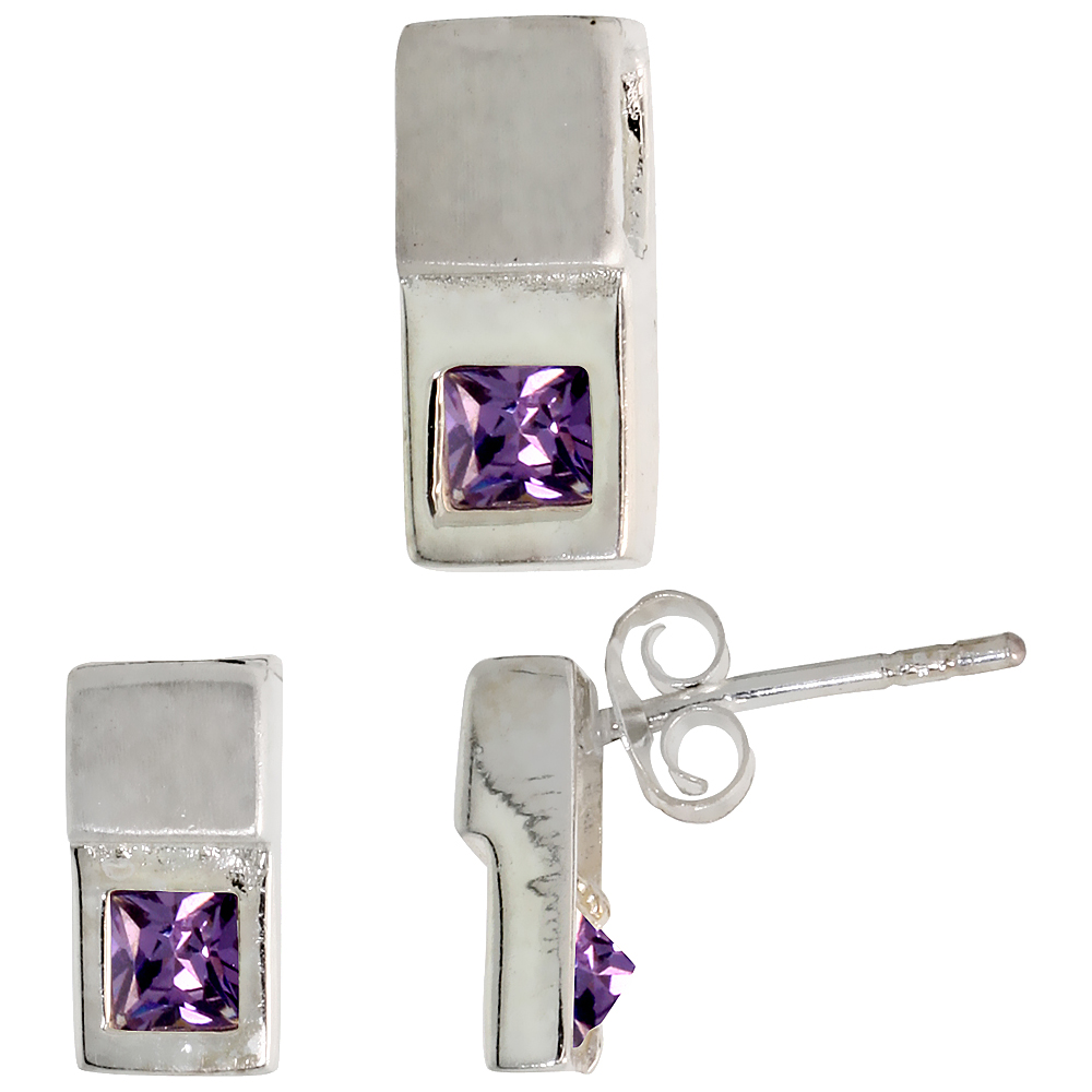 Sterling Silver Matte-finish Fancy Earrings (10mm tall) & Pendant Slide (12mm tall) Set, w/ Princess Cut Amethyst-colored CZ Sto
