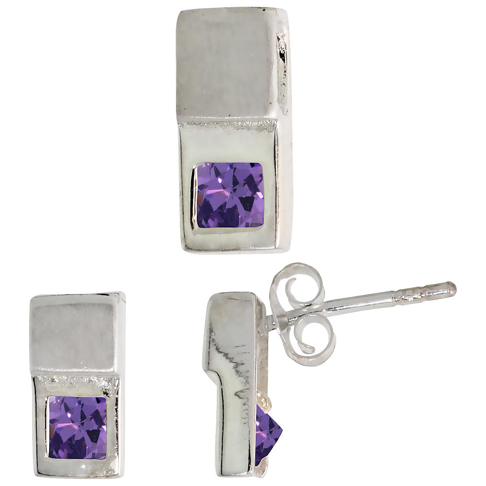 Sterling Silver Matte-finish Fancy Earrings (10mm tall) & Pendant Slide (12mm tall) Set, w/ Princess Cut Blue Sapphire-colored CZ Stones