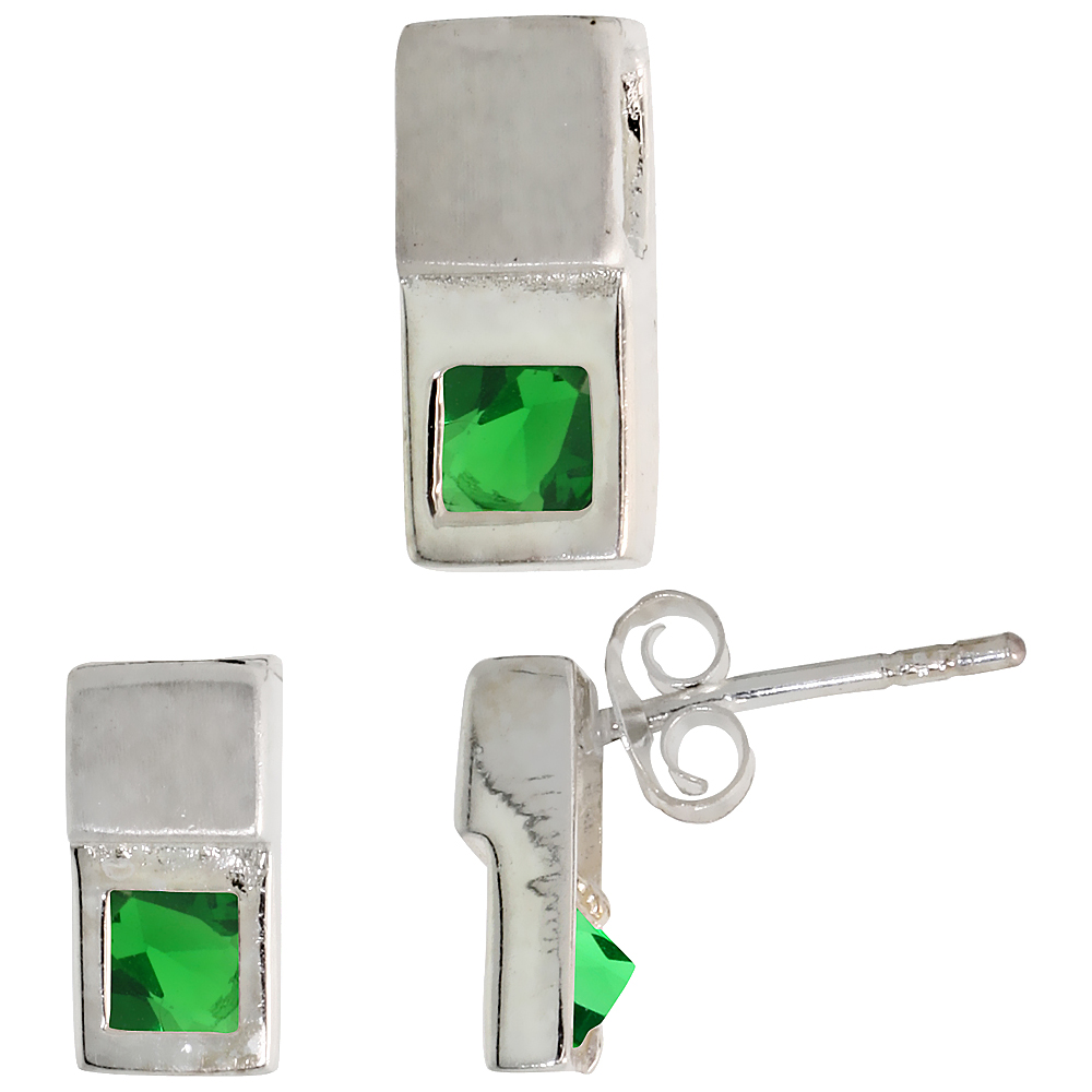 Sterling Silver Matte-finish Fancy Earrings (10mm tall) & Pendant Slide (12mm tall) Set, w/ Princess Cut Emerald-colored CZ Ston