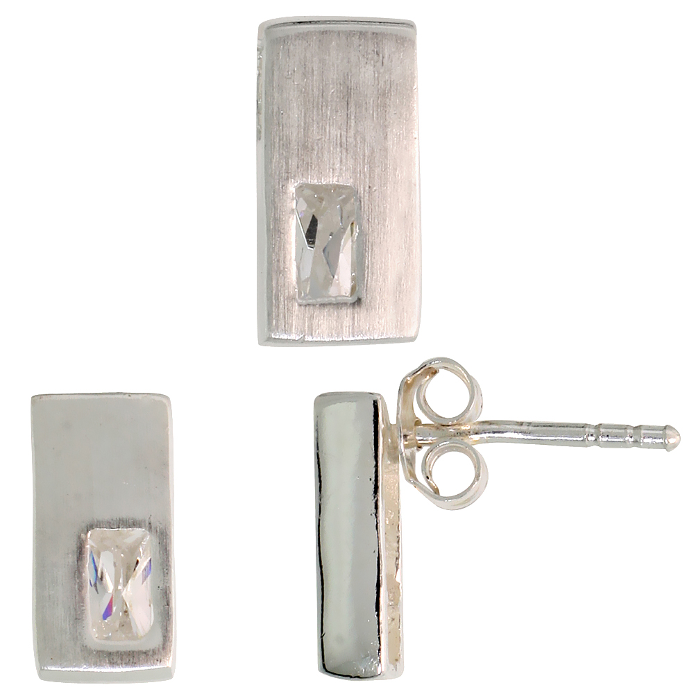 Sterling Silver Matte-finish Rectangular Earrings (11mm tall) & Pendant Slide (11mm tall) Set, w/ Emerald Cut CZ Stones