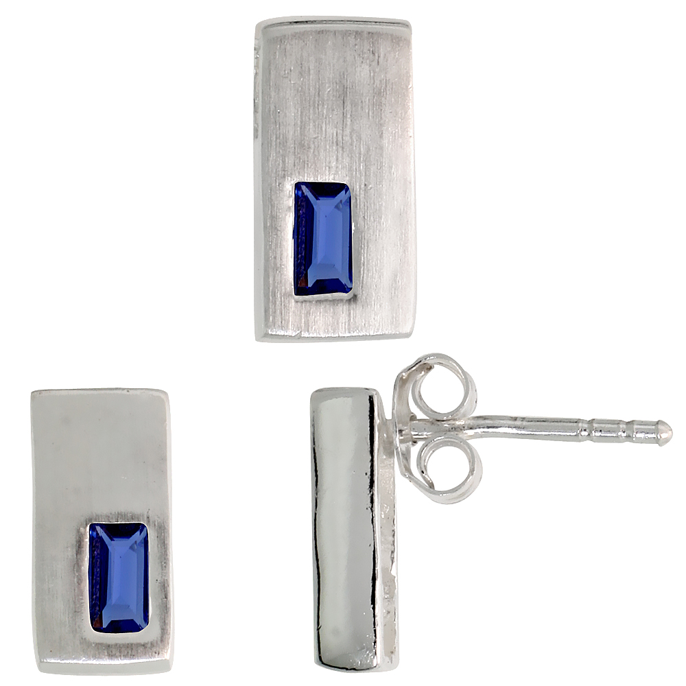 Sterling Silver Matte-finish Rectangular Earrings (11mm tall) & Pendant Slide (11mm tall) Set, w/ Emerald Cut Blue Sapphire-colo