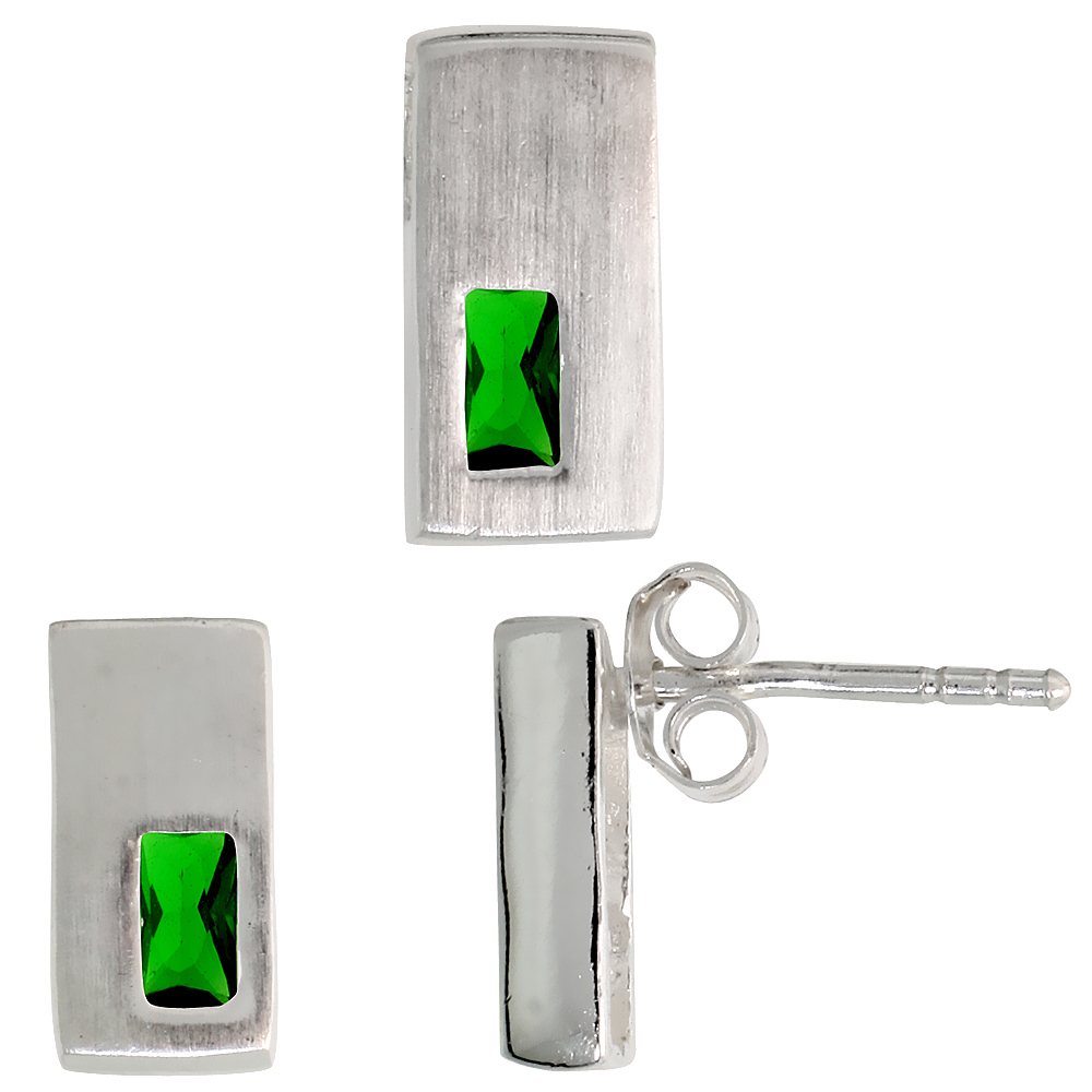 Sterling Silver Matte-finish Rectangular Earrings (11mm tall) & Pendant Slide (11mm tall) Set, w/ Emerald Cut Emerald-colored CZ