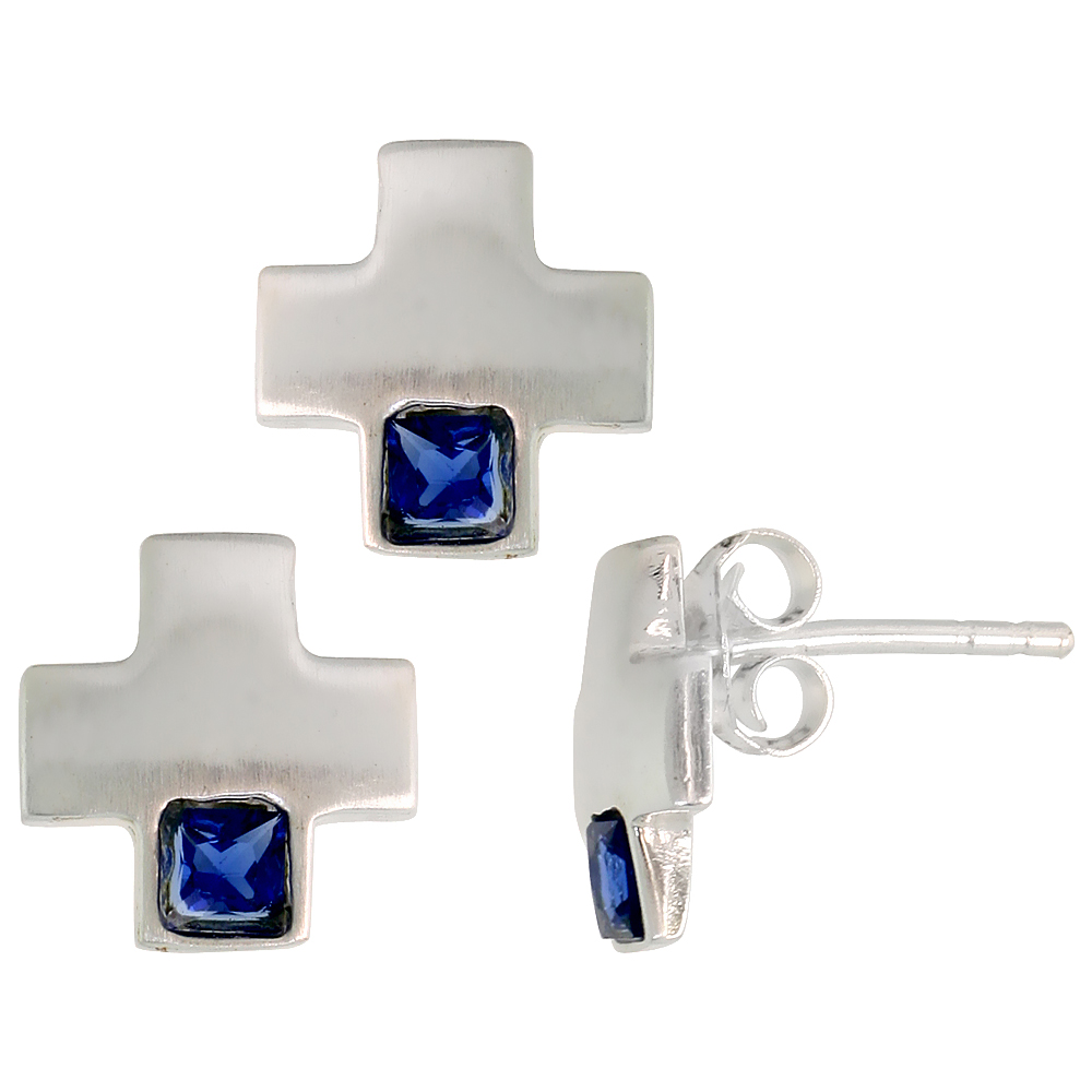 Sterling Silver Matte-finish Greek Cross Earrings (10mm tall) & Pendant Slide (10mm tall) Set, w/ Princess Cut Blue Sapphire-col
