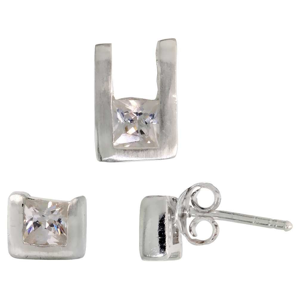 Sterling Silver Matte-finish U-shaped Stud Earrings (6mm tall) & Pendant (10mm tall) Set, w/ Princess Cut CZ Stones