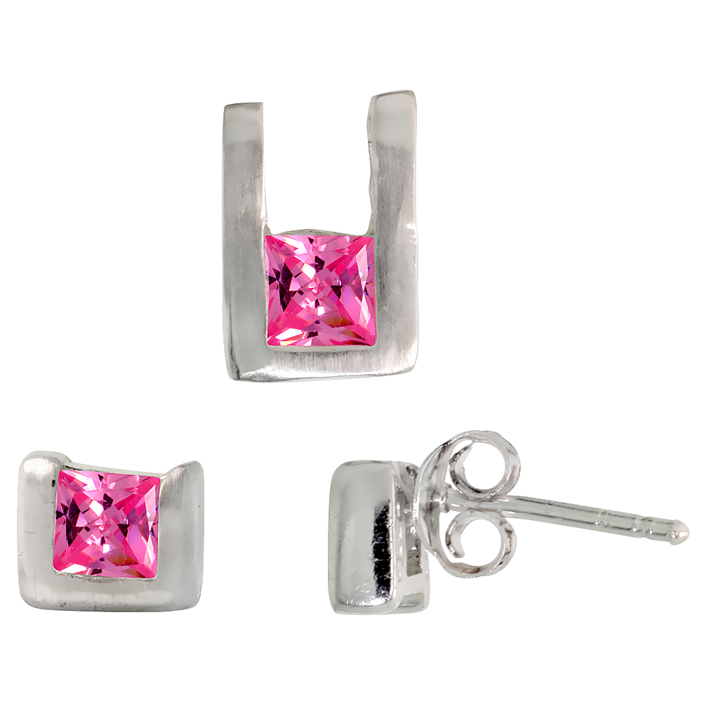 Sterling Silver Matte-finish U-shaped Stud Earrings (6mm tall) & Pendant (10mm tall) Set, w/ Princess Cut Pink Tourmaline-colore