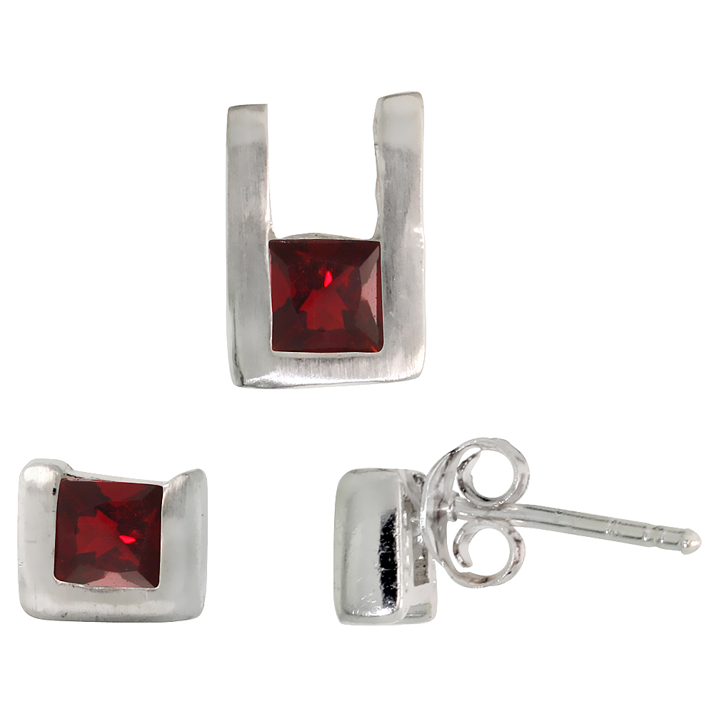 Sterling Silver Matte-finish U-shaped Stud Earrings (6mm tall) & Pendant (10mm tall) Set, w/ Princess Cut Ruby-colored CZ Stones