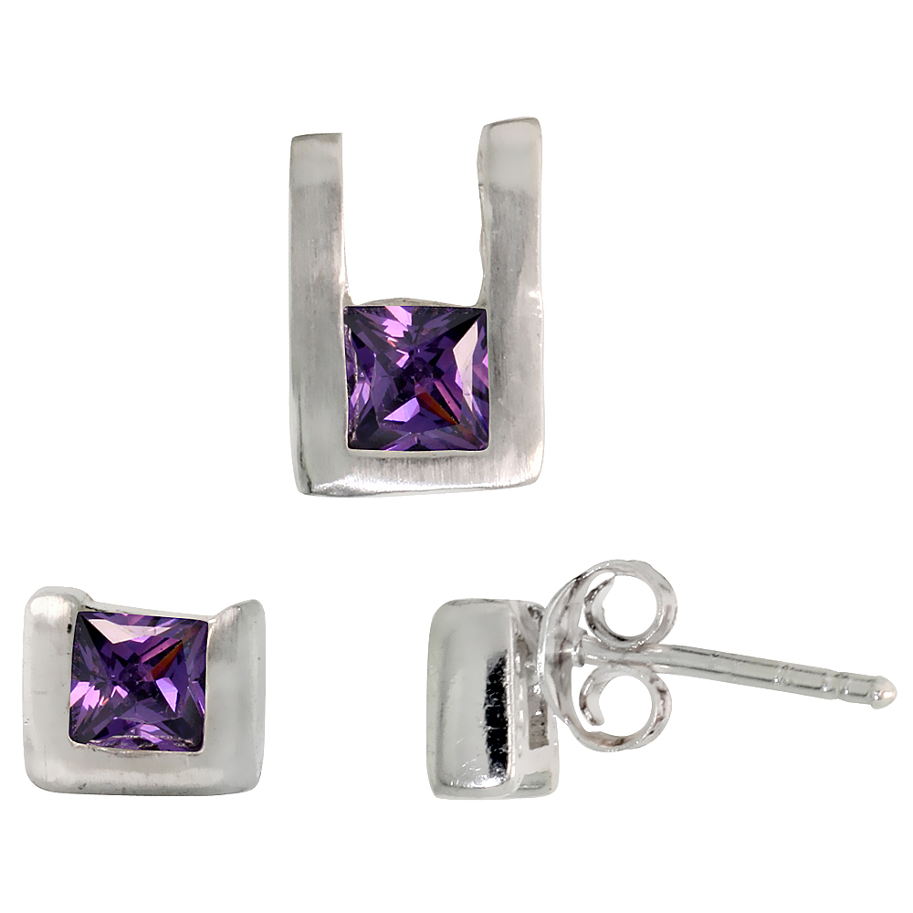Sterling Silver Matte-finish U-shaped Stud Earrings (6mm tall) & Pendant (10mm tall) Set, w/ Princess Cut Amethyst-colored CZ St