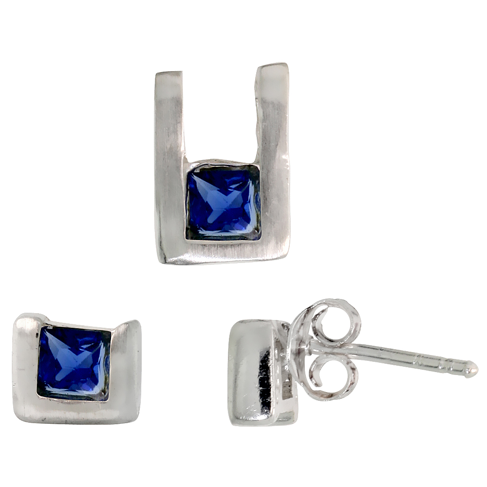 Sterling Silver Matte-finish U-shaped Stud Earrings (6mm tall) & Pendant (10mm tall) Set, w/ Princess Cut Blue Sapphire-colored