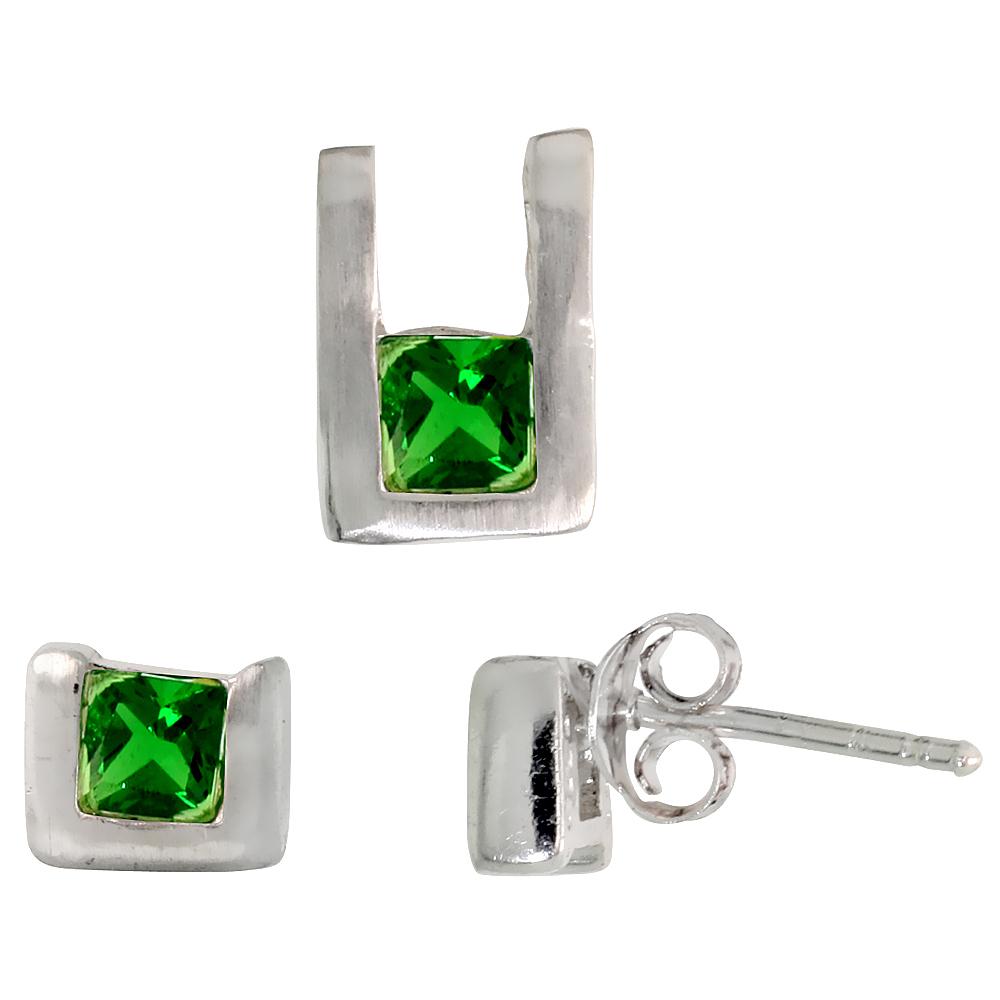 Sterling Silver Matte-finish U-shaped Stud Earrings (6mm tall) & Pendant (10mm tall) Set, w/ Princess Cut Emerald-colored CZ Stones