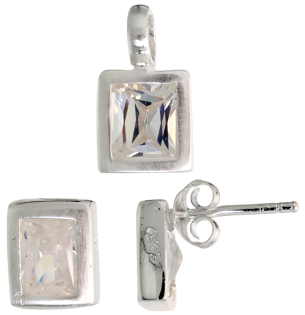 Sterling Silver Matte-finish Rectangular Earrings (8mm tall) & Pendant (13mm tall) Set, w/ Emerald Cut CZ Stones