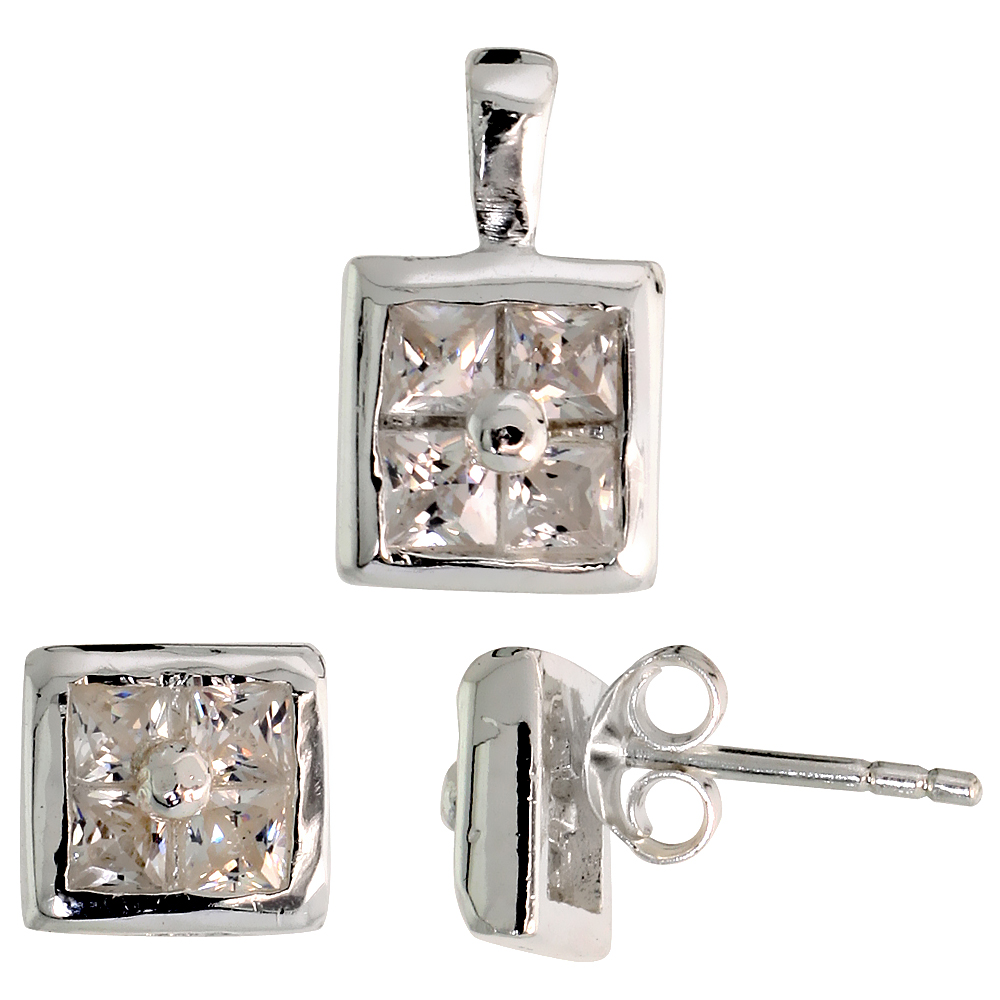 Sterling Silver Square-shaped Stud Earrings (6.5 mm) & Pendant (11mm tall) Set, w/ Princess Cut CZ Stones