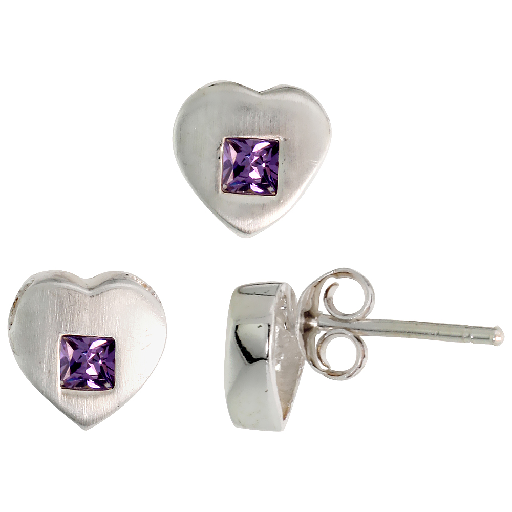 Sterling Silver Matte-finish Heart Earrings (8mm tall) & Pendant Slide (9mm tall) Set, w/ Princess Cut Amethyst-colored CZ Stones