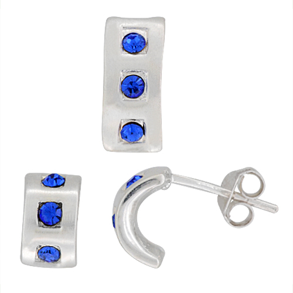 Sterling Silver Matte-finish Half Hoop Earrings (9mm tall) & Pendant Slide (12mm tall) Set, w/ Blue Sapphire-colored Brilliant Cut CZ Stones