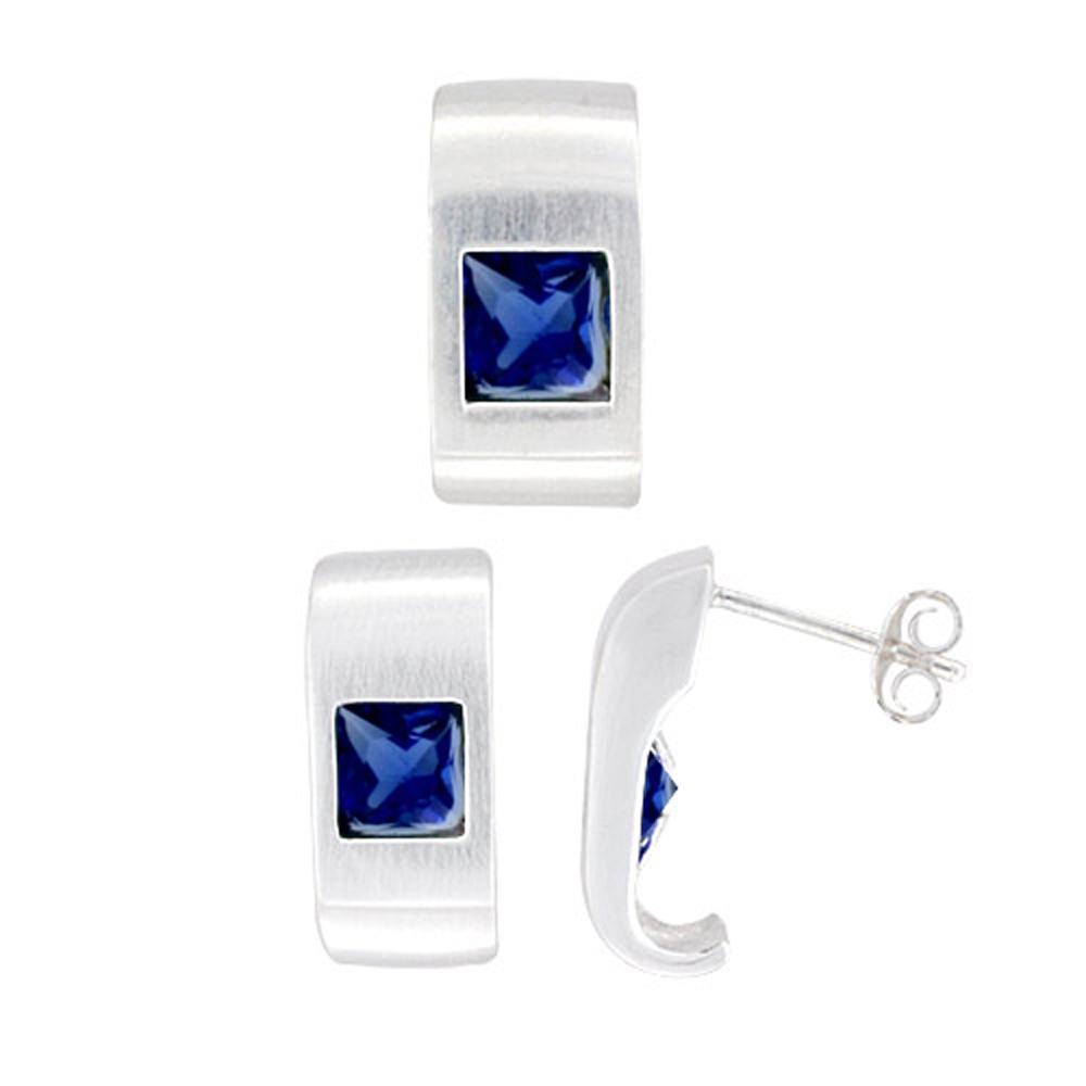 Sterling Silver Matte-finish Fancy Earrings (16mm tall) & Pendant Slide (17mm tall) Set, w/ Princess Cut Blue Sapphire-colored CZ Stones