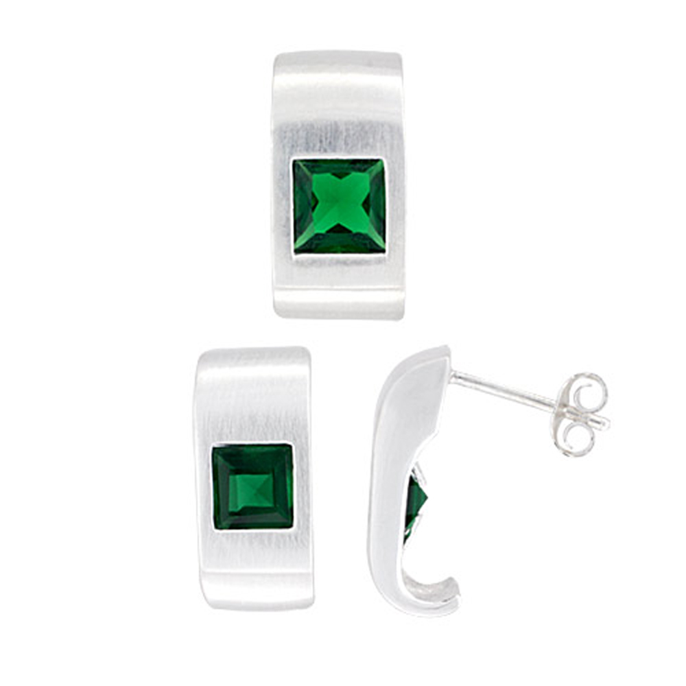Sterling Silver Matte-finish Fancy Earrings (16mm tall) & Pendant Slide (17mm tall) Set, w/ Princess Cut Emerald-colored CZ Stones