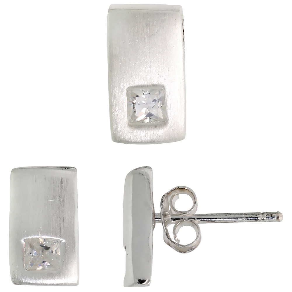 Sterling Silver Matte-finish Rectangular Earrings (10mm tall) & Pendant Slide (10mm tall) Set, w/ Princess Cut CZ Stones
