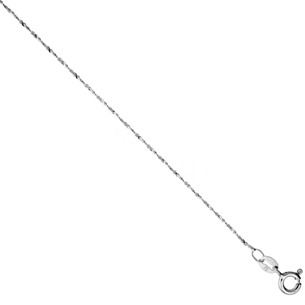 Sterling Silver Diamond Cut Twisted Serpentine Chain 1.1mm Very Thin Nickel Free Italy, sizes 7 - 30 inch