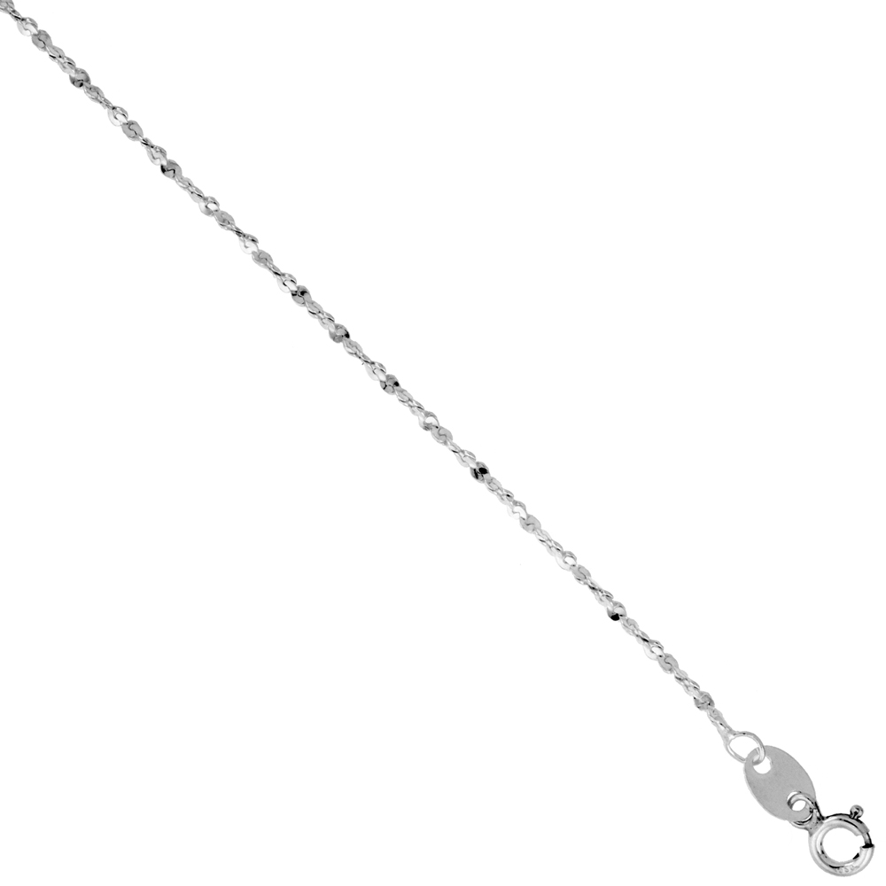 Sterling Silver Italian Twisted Serpentine Chain Diamond Cut 1.5mm Nickel Free, Sizes 9 - 10 inch