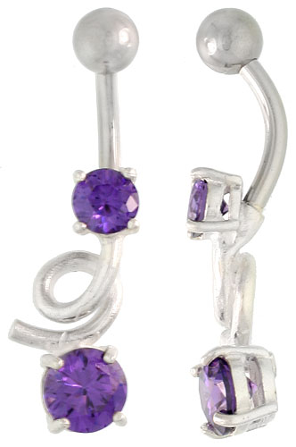 Loop Belly Button Ring with Brilliant Cut Amethyst Cubic Zirconia on Sterling Silver Setting