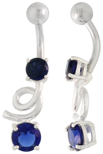 Loop Belly Button Ring with Brilliant Cut Blue Sapphire Cubic Zirconia on Sterling Silver Setting